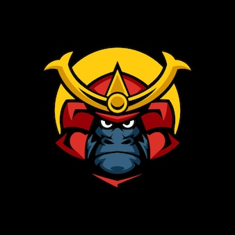 Szablony logo gorilla samurai