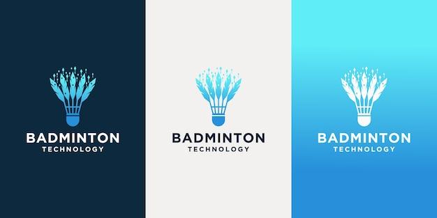 Szablony logo inspiracji technologią badmintona