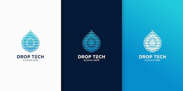 Szablony logo inspiracji technologicznych kropelek