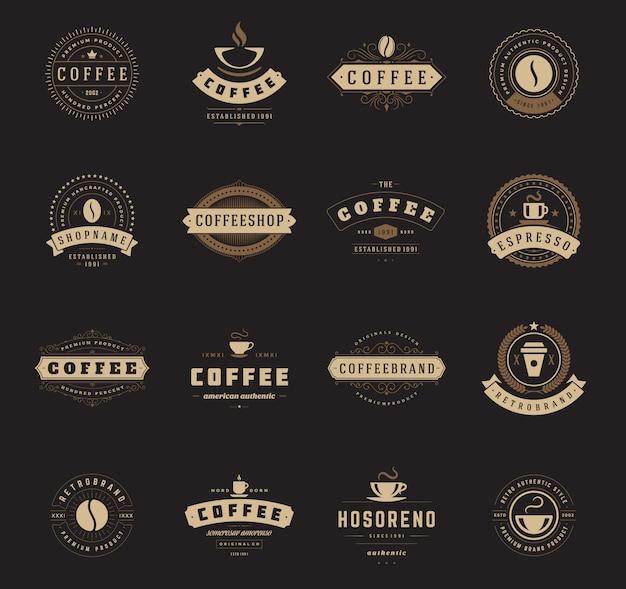 Szablony logo kawiarni zestaw ilustracji.