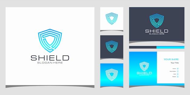 Szablony logo koncepcja kreatywnych tarczy. i wizytówkę