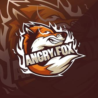 Szablony logo maskotka angry fox