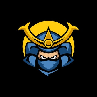 Szablony logo maskotka samurai hanzo