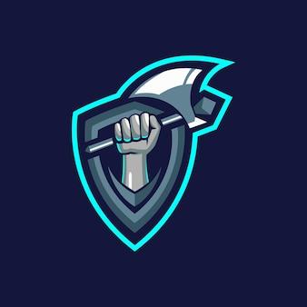 Szablony logo ręka axe
