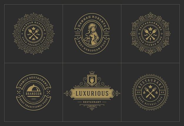 Szablony logo restauracji ustawiają ilustrację dobrą dla etykiet menu i odznak kawiarni.