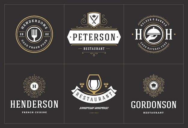 Szablony logo restauracji ustawiają ilustrację wektorową dobrą dla etykiet menu i odznak kawiarni