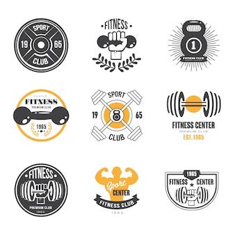 Szablony logo sportu i fitnessu, logotypy siłowni, etykiety sportowe