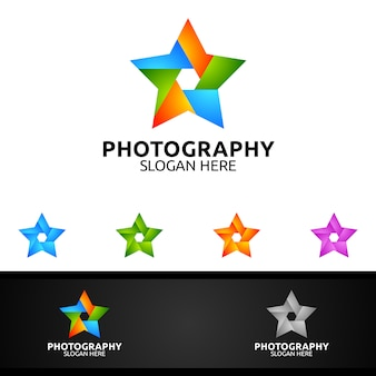 Szablony logo star photography