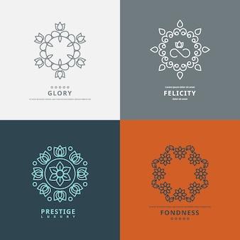 Szablony logo w stylu z elementami kwiatowymi. zaprojektuj symbol kwiatu, ozdobny elegancki