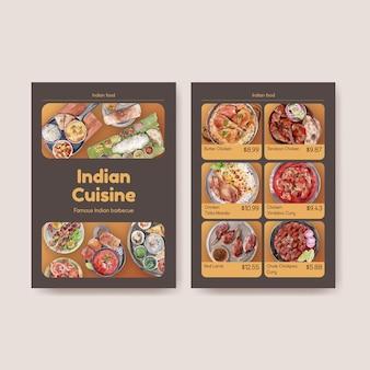 Szablony menu z indyjskim jedzeniem