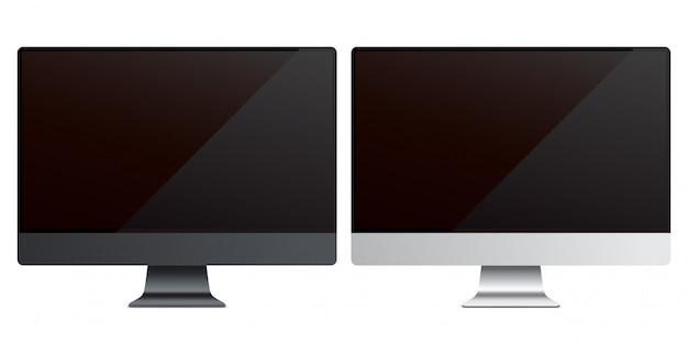Szablony monitorów komputera pc. zestaw czarno-srebrnych ekranów lcd na białym tle na białym tle.