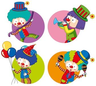 Szablony naklejki z szczęśliwych klaunów