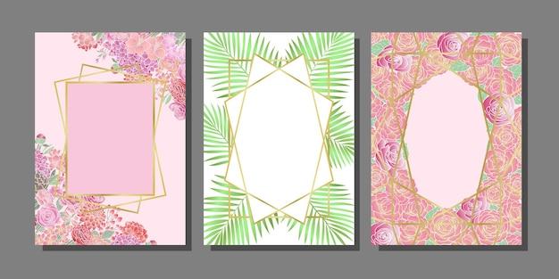 Szablony okładek kwiatów ustawione na kartki z życzeniami