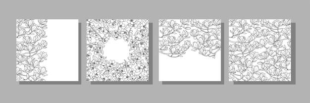 Szablony okładek magnolii i wiśni na kartki z życzeniami