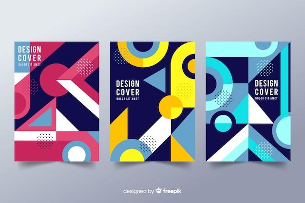 Szablony okładek projektowych o geometrycznych kształtach