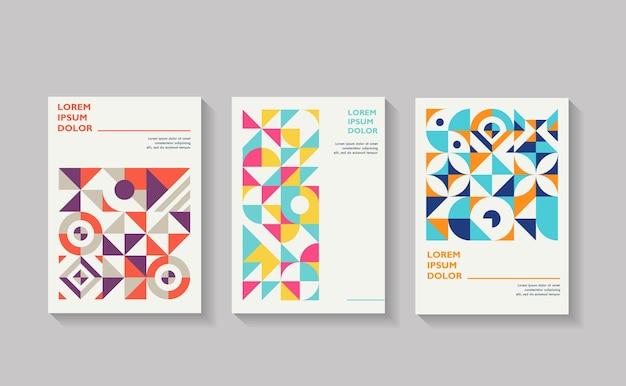 Szablony okładek zestaw z kształtami geometrycznymi projekt w stylu retro geometryczny