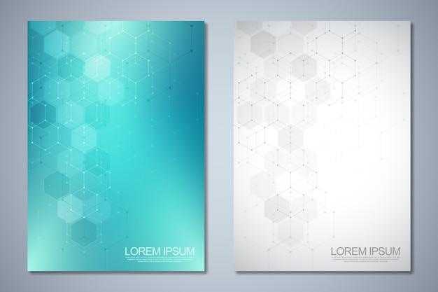 Szablony okładki lub broszury z abstrakcyjnym wzorem sześciokątów.