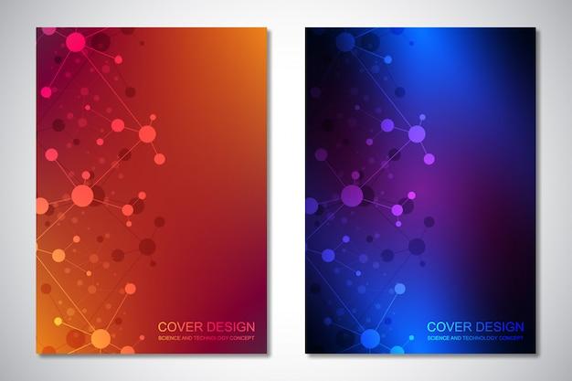 Szablony okładki lub broszury z tłem cząsteczek i siecią neuronową. streszczenie tło geometryczne połączonych linii i kropek. nauka i technologia .