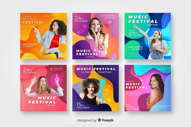 Szablony plakatów festiwalu muzycznego ze zdjęciem