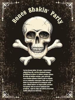 Szablony plakatów na imprezę, halloween. czaszka i piszczele. ilustracji wektorowych