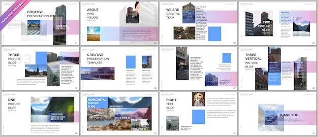Szablony portfolio prezentacji z kolorowym gradientem