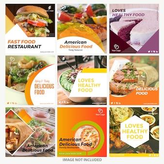 Szablony postów na instagramie żywności