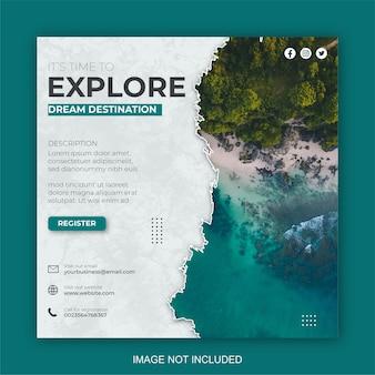 Szablony postów w mediach społecznościowych dla firm związanych z podróżami wakacyjnymi