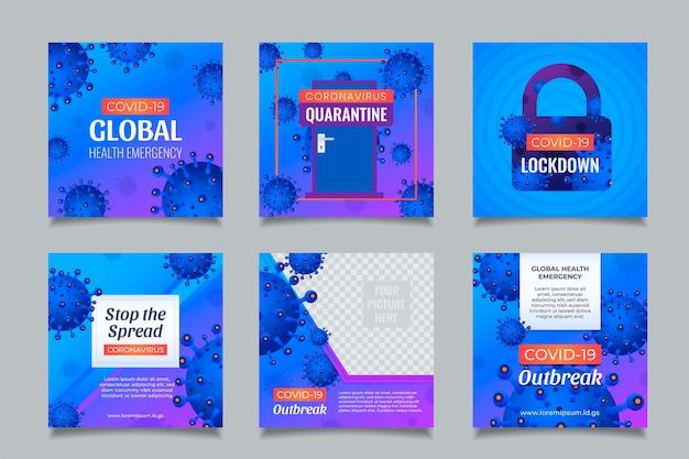 Szablony postów w mediach społecznościowych koronawirusa z niebieskim tłem i koncepcją blokady kwarantanny.
