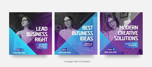 Szablony postów w mediach społecznościowych o kreatywnych rozwiązaniach biznesowych