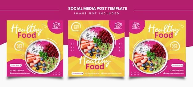 Szablony postów w mediach społecznościowych ze zdrową żywnością