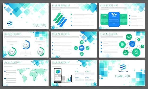 Szablony prezentacji abstrakcyjnych z elementami infograficznymi.