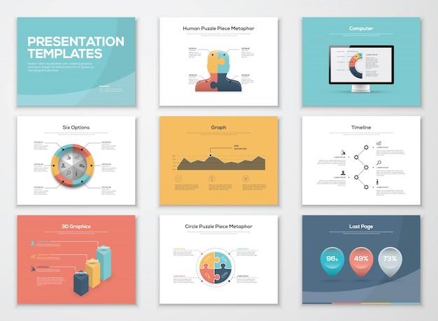 Szablony prezentacji biznesowych i elementy wektorowe infografiki