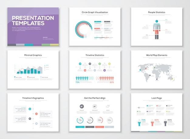 Szablony prezentacji infografiki i broszury biznesowe