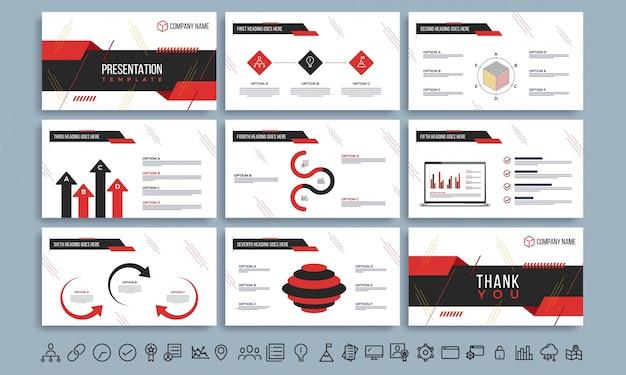 Szablony prezentacji z czerwoną i czarną infografiką.