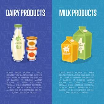 Szablony produktów mlecznych pionowe banery z miejscem na tekst