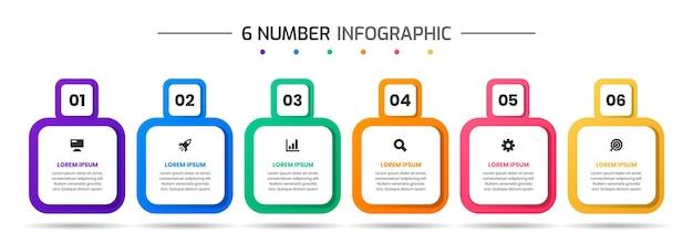 Szablony projektów elementów infografiki z ikonami i 6 cyframi odpowiednie dla diagramu procesu