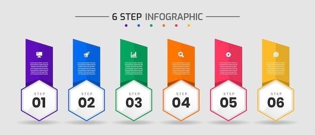 Szablony projektów elementów infografiki z ikonami i 6 krokami