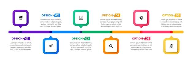 Szablony projektów elementów infografiki z ikonami i 6 opcjami odpowiednimi dla diagramu procesu