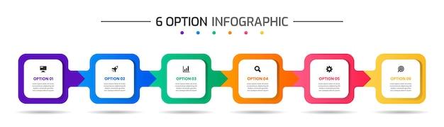 Szablony projektów elementów infografiki z ikonami i 6 opcjami odpowiednimi do prezentacji