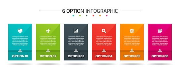 Szablony projektów elementów infografiki z ikonami i 6 opcjami