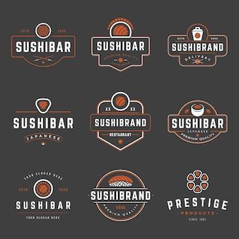 Szablony projektów etykiet i odznaki sklepu sushi ustawiają logo japońskiej żywności