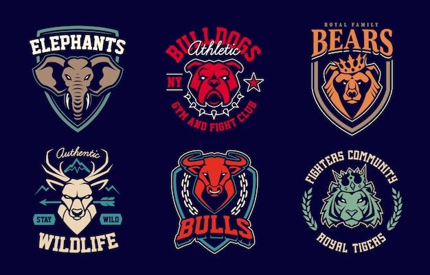 Szablony projektów godła z maskotkami różnych zwierząt. projekty odznak drużyn sportowych. wektor zestaw.
