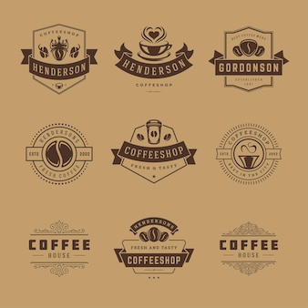 Szablony projektów logo kawiarni zestaw ilustracji do projektowania odznak kawiarni i dekoracji menu