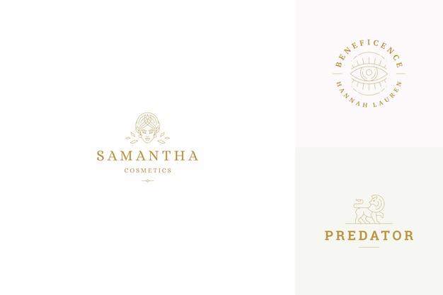 Szablony projektów logo linii ustawiają kobiecą twarz i gesty ręce ilustracje minimalistyczny styl