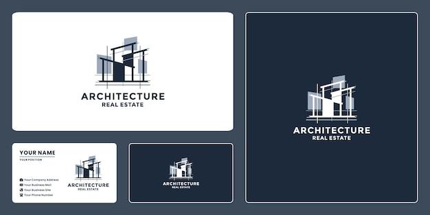 Szablony projektu logo architekta budowlanego z wizytówką dla nieruchomości, agencji, wykonawcy