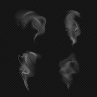 Szablony realistyczny dym, para na ciemnym tle.
