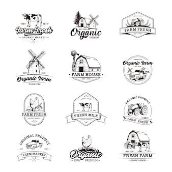 Szablony retro logo rolnika