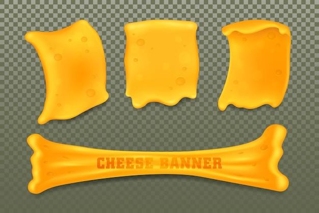 Szablony sera lub twarogu ustawiają banery wektorowe