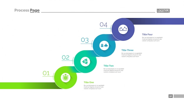 Szablony slajdów krok po kroku dla firm. dane biznesowe. wykres, diagram, projekt. kreatywna koncepcja infografiki, projekt. mogą być wykorzystywane do takich tematów jak zarządzanie, planowanie, rozwój