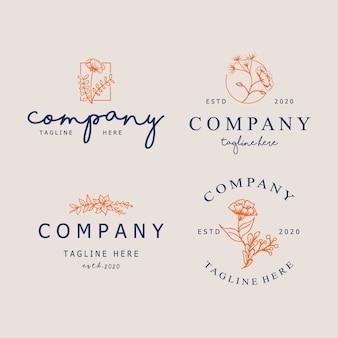 Szablony streszczenie logo w modnym stylu liniowy minimalny. symbole kosmetyków, biżuterii, produktów kosmetycznych i ręcznie robionych